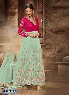 Exuberant Sea Green Coloured Net Semi stitched Anarkali Salwar Suit