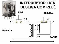 Circuito Interruptor liga e desliga usando Relé - locked-out relay