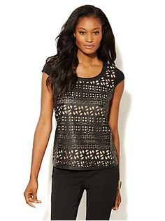 Faux-Leather Laser-Cut Couture Tee from New York & Company