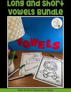 Your Students will ADORE this 120 Page Coloring Book for Long and Short Vowels! Add it to your plans to compliment any Short Vowel and Long Vowel Unit! 120 Coloring Pages For Some Short Vowel and Second Grade Teacher, First Grade Classroom, First Grade Math, Writing Lessons, Writing A Book, Math Lessons, Fall Coloring Pages, Coloring Books, Long U Words