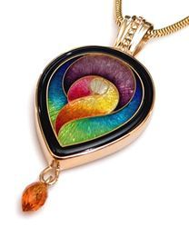 """MAGICK designer pendant. Exquisite cloisonne in 14k yellow gold with faceted citrine gem stone. Artist signed Fusager and approximately 1.65 """" long including bale. Chain sold seperately."""