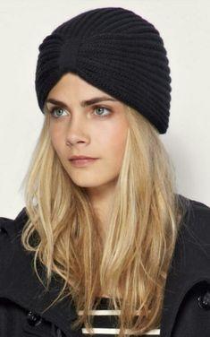 knitted turban and Cara :) Mode Turban, Turban Hat, Turban Style, Scarf Hat, Turban Crochet, Knit Crochet, Crochet Hats, Latest Fashion Clothes, Look Fashion