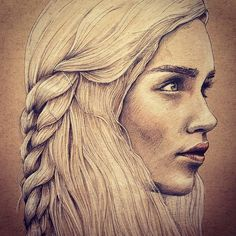 Khaleesi - Game of Thrones Rotring fine liner with Prisma Color pencils ✌️