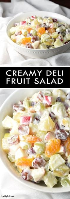 A creamy and luscious fruit salad that is perfect for summer and potlucks! This Creamy Delicatessen Fruit Salad is a creamy and luscious fruit salad that is perfect for summer, potlucks, holiday gatherings, or a light dessert! Breakfast Fruit Salad, Dessert Salads, Dessert Recipes, Shot Recipes, Party Desserts, Easter Recipes, Creamy Fruit Salads, Fruit Salad Recipes, Jello Salads