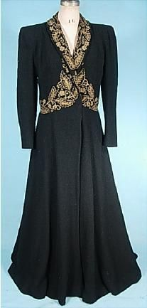 1940's Weinberger's Metallic Braiding and Beaded Boucle Wool Evening Coat