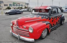 The suped up cars look like props from the classic musical Grease
