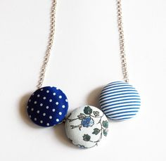 Alice - Upcycled Fabric Covered Button Necklace - statement necklace - nautical - flowers - polka dot necklace - vintage floral fabric. $22.00, via Etsy.