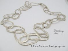Artisan hand forged large link chain starting at $135.00 by JoDeneMoneuseJewelry