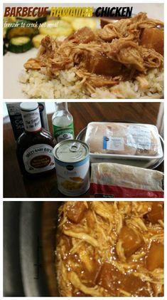 Barbecue Hawaiian Chicken - Freezer to Crock Pot Meal on Having Fun Saving