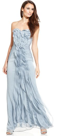Adrianna Papell Strapless Pleated Gown