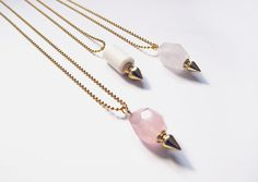 Gemstone spike necklace long pendant necklace  rose by AlmostDone, $26.00