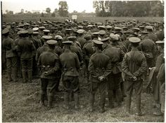 WWI: A large group of soldiers attend a church service in a field, the Priest can be see in the middle of the picture towards the back. - Found via Buzzfeed