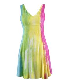Another great find on #zulily! Yellow & Pink Sea Splash Tie-Dye Empire-Waist Dress - Women #zulilyfinds