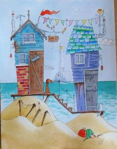 BEACH-HUTS-Lighthouse-Seaside-Original-Signed-Watercolour-and-Ink-Painting from betseygeorge03 on ebay.