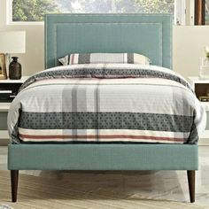 Modway Jessamine Twin Upholstered Platform Bed with Round Tapered Legs, Multiple Colors, Blue