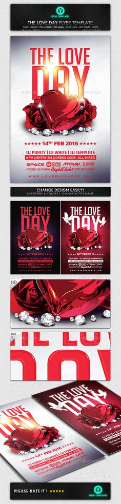Love Day Valentines Hearts Flyer Template - Events Flyers