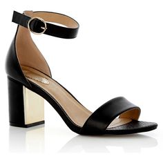 OASIS Roxy Block Heel (180 BRL) ❤ liked on Polyvore featuring shoes, black, thick heel shoes, wide ankle strap shoes, mirror shoes, strappy shoes and black ankle strap shoes