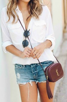 ysl blogger bag and casual cutoffs outfit