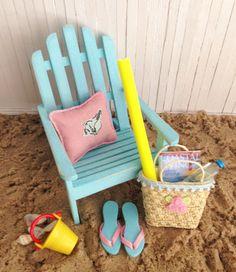 Miniature Aqua Blue Adirondack Chair A Pink by LittleThingsByAnna