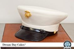 This groom's cake replicated the dress blues cover for a US Marine Corps cake. Baked fresh in Gainesville, we were honored to create this Marines cake. Marine Wedding Cakes, Marine Corps Wedding, Fancy Cakes, Cute Cakes, Usmc, Marines, Marine Corps Cake, Military Cake, Character Cakes