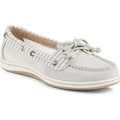 Sperry Top-Sider Women's Firefish Stripe Mesh Boat Shoes Light Grey