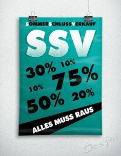 Sommerschlussverkauf - Alles muss raus - Plakat, dunkles Türkis, P-FP-0002E   Plakate   Werbedesigns   Despri