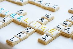 lovely scrabble cake or bars or cookies (can't tell for sure what they are)