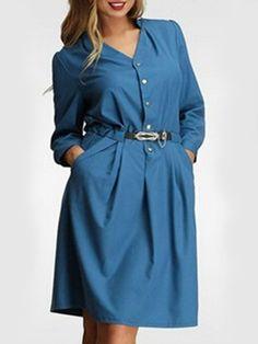 Attractive Small Lapel With Belt Falbala Pockets Plain Plus-size-midi-dress Plus Size Midi