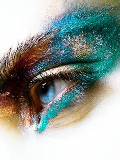 Powder texture colourful eye close up makeup