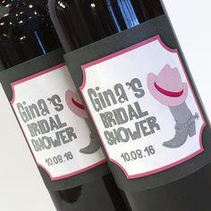 Western Theme Bridal Shower Mini Wine Bottle Labels  by ZoeDeZigns