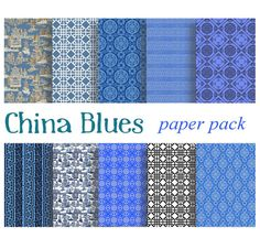 BLUE CHINA BACKGROUNDS Paper Pack Digital Papers  by DigitalAlice
