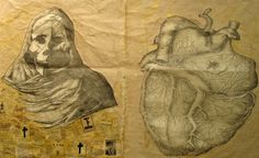 Douglas Pierre Baulos  HUASTEC-IMMORTAL BELOVED  graphite, tea, gesso, collage