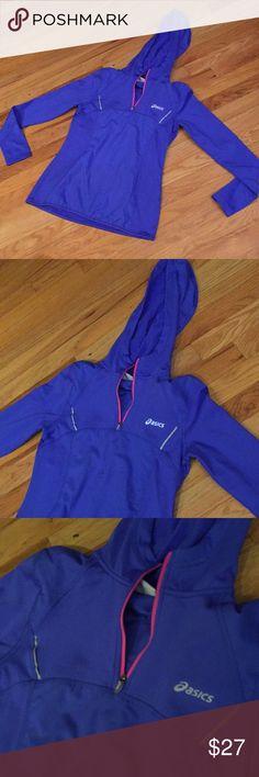 ASICS Supersoft blue-purple w/hot pink accents Feminine sleek quarter zip hoodie Asics Tops Sweatshirts & Hoodies