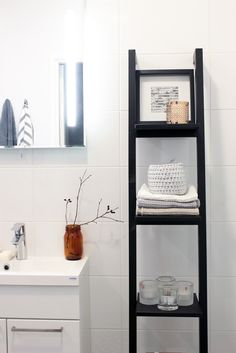She's got herself a little piece of heaven: kylpyhuone Ladder Bookcase, My House, Shelves, Bathroom, Interior, Table, Room Ideas, Inspiration, Furniture