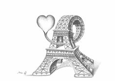 """The Heart of Paris""  Pencil drawing  Format 42 cm x 29.70 cm (16.54 in x 11.69 in)  8 to 11 hours of work to produce original drawing  http://www.eiffel-tower-forever.com/en/mario-paris-drawing/222-the-heart-of-paris.html"