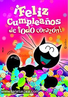 Imagen con frase de cumpleaños de todo corazón-Gato Morfeo en una piscina de dulces© ZEA www.tarjetaszea.com