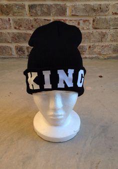 Black KING beanie by BelleLaVieApparel on Etsy, $11.00
