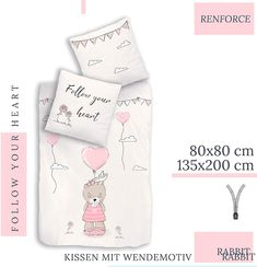 termana HASENMOTIV Bettwäsche Set · Kinder-Bettwäsche für Mädchen · Follow Your Heart · Hase, Wolken & Herz · Kissenbezug 80x80 + Bettbezug 135x200 cm - 100% Baumwolle: Amazon.de Kids Bed Linen, Bunny, Clouds, Cotton
