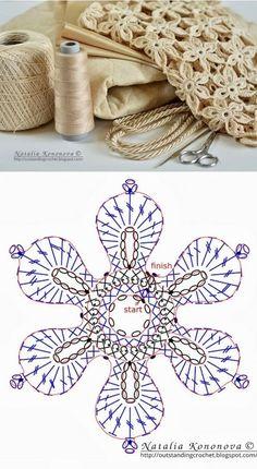 Best 12 Lovely crocheted flower on a Japanese site – SkillOfKing. Crochet Leaves, Crochet Motifs, Crochet Flower Patterns, Crochet Diagram, Doily Patterns, Crochet Chart, Crochet Squares, Love Crochet, Irish Crochet