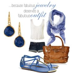 Love this blue with cream and tan
