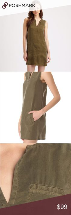 Theory Cactus Green Silk Tunic Minidress w/Pockets This is the super popular Theory 'Wandu' dress. It is an easy tunic dress with a mini length. It has pockets at the side and one on the bust. It's the most gorgeous army cactus green color, and the fabric is a soft and matte washed silk. The perfect everyday summer dress! Theory Dresses Mini