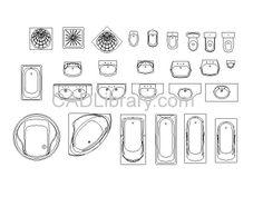 Bathroom Assorted - Bathroom - 2D CAD Symbols Library - CAD Library Autocad Drawings
