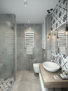 "homedesigning: "" 2 Apartments Under 30 Square Metre – One Light, One Dark "" Another pretty bathroom! I love the backsplash and tile accents in this soft, light gray space. Everything is so soothing, and yet has character because of the tile. Great..."