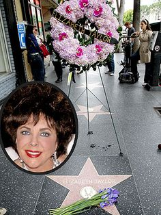 A memorial begins at Taylor's Hollywood Walk of Fame star