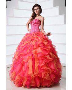 Ruffled Strapless Organza Quinceanera Dress - Quinceanera Dresses - Special Occasion   LynnBridal.com