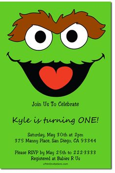 Sesame Street Grouch Birthday Party Invitations - Get these invitations RIGHT NOW. Design yourself online, download and print IMMEDIATELY! Or choose my printing services. No software download is required. Free to try!