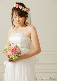 hk00213  ニュアンスピンクの花冠とブーケ  ys floral deco