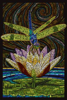 Dragonfly - Paper Mosaic - Lantern Press Poster