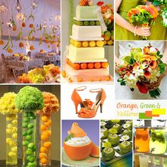 Green, Orange and Yellow Wedding Colors - Green, Orange and Yellow are vibrant, sunny colors for spring and summer. No yellow! Yellow Wedding Colors, Orange Wedding, Wedding Color Combinations, Wedding Color Schemes, Color Combos, Wedding Themes, Wedding Decorations, Wedding Ideas, Green Party