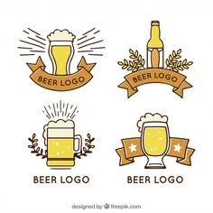 Hand drawn beer logo collection Beer Logo Design, Beer Art, Free Hand Drawing, Vector Photo, Displaying Collections, Logo Templates, Line Drawing, Hand Drawn, Vector Free